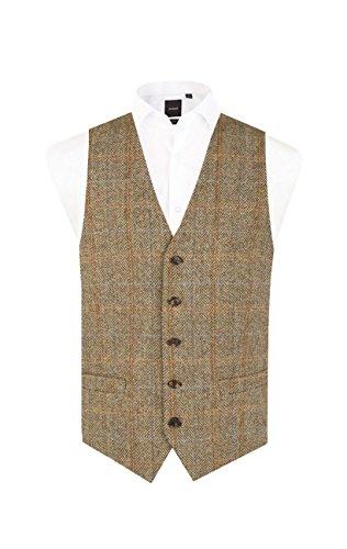 Harris Tweed Mens Brown Windowpane Check Tweed Vest Regular Fit 5 Button Waistcoat-L (42-44in) ()