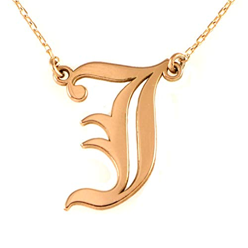 - Rose Gold Sterling Silver Old English Font J Initial Letter Pendant Necklace 18+2 inches Chain
