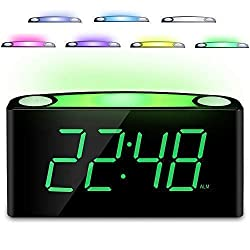 Desk Alarm Clock with 12/24 H, 7-Color Night Light, 7 Digital LED Display with Large Digits, Full Brightness Dimmer, 2 USB Charging Port, AC Powered & Battery Backup Settingsfor Bedroom, Kids