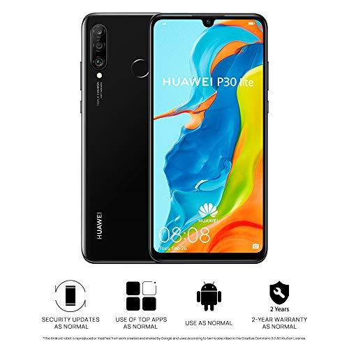 Huawei P30 Lite 128 GB 6.15 inch FHD Dewdrop Display Smartphone with 48MP AI Ultra-wide Triple Camera, 4GB RAM, Android 9.0 Sim-Free Mobile Phone, Single SIM, UK Version, Black