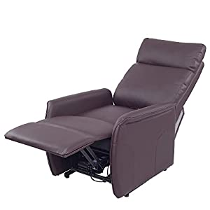 New MTN-G Electric Power Lift Chair Recliner Sofa PU Leather Padded Seat Living Room Brown