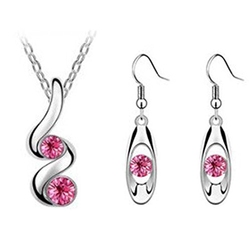 Fimkaul Women Romantic Wedding Creative Necklace Earring Set for Princess Bride Bridesmaid (Hot Pink)