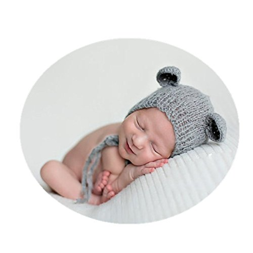 Vemonllas Luxury Newborn Boy Girl Costume Knitted Baby Photography Props Bear Hat Headdress Grey