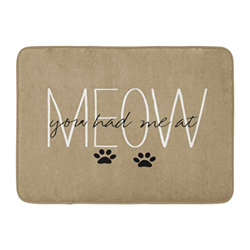 SPXUBZ Chic You Had Me at Meow Paw Non Slip Entrance Rug Outdoor/Indoor Durable and Waterproof Machine Washable Door mat Size:18x30 inch]()