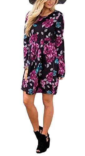 Sodossny-au Womens Manches Longues Casual Imprimé Floral O-cou Robe Courte Plissée 4
