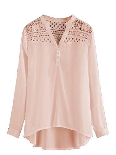 - Milumia Women's Hollow Out Lace Yoke Dip Hem Chiffon Blouse X-Large Pink