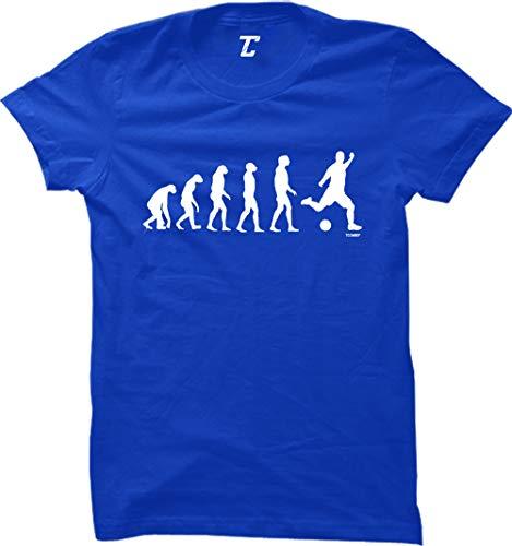Evolution to Soccer - Futbol Sports Women's T-Shirt (Royal, Medium)