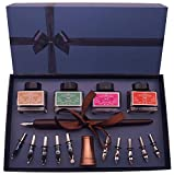 Plotube Calligraphy Pen Set – Includes Wooden Dip Pen, Antique Holder, 11 Nibs, 4 Ink Bottle