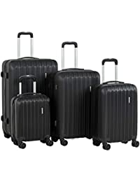 """Travel 4 Pieces ABS Luggage Sets Hardside Spinner Lightweight Durable Spinner Suitcase 16"""" 20"""" 24"""" 28"""",4PCS Black"""