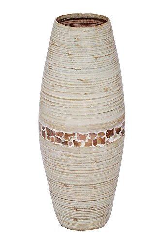 Heather Ann Creations Savannah Collection Decorative Handcrafted Rounded Shape Natural Bamboo Vase with Large Opening, Mother of Pearl Band with Distressed White Finish by Heather Ann Creations