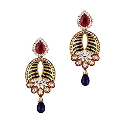 Variation Gold Plated Red Blue Meenakari Classic Earrings For Women - VD13932 Earrings at amazon