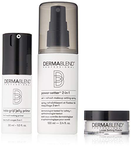 Dermablend Makeup Essentials Gift Set with Face Primer, Setting Powder & Setting Spray