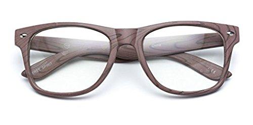 WearMe Pro - Vintage Inspired Classic Wood Print Nerd Horn Rimmed Clear Lens Glasses