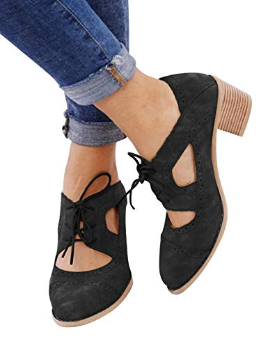 - XMWEALTHY Women's Stylish Lace Up Ankle Boots Cutout High Heels Sandals Shoes Suede Black US 8.5