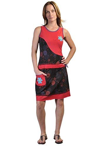 Vestido sin mangas del verano de las mujeres con parches de flores y bordado Red