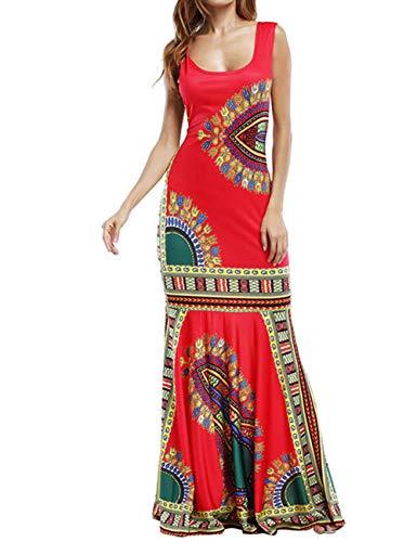 (Womens Floral Printed Boho Dress Tank Top Long Beach Dress Maxi Dress Red)