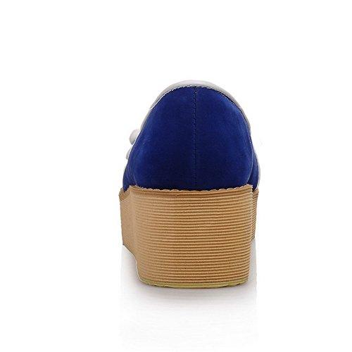 AllhqFashion Mujeres Sin cordones Puntera Redonda Cerrada Cuña Dos tonos De salón Azul
