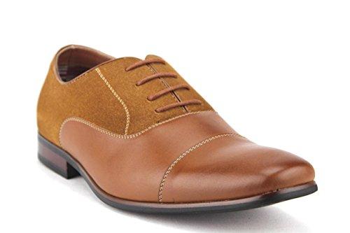Ferro Aldo New Hombres Cap Toe Zapatos De Cuero De Ante Con Cordones 19506 Cognac Brown