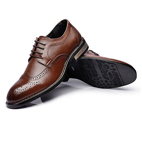 Bangxiu Negocios Transpirables De Formales Talla Forrados Los Hombres Genuino Marrón Tallado Baja Hueco Cuero Superiores Zapatos Oxfords Vestir Cómodos Negocio Tpq6rT