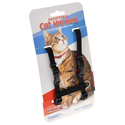 Tuff Collar Nylon Adjustable Cat Harness - Black Girth Size 10-18 (36 Pack) by Tuff Collar