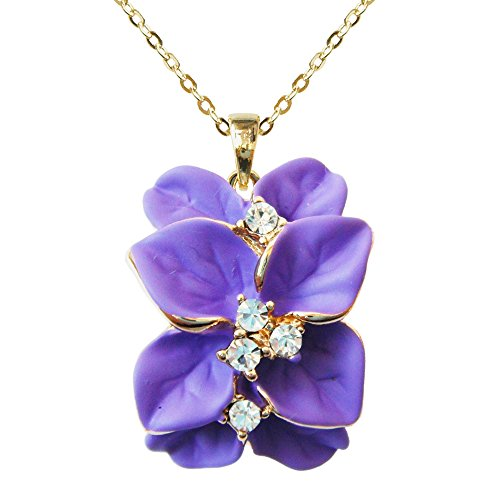 Navachi 18k Gold Plated Clear Crystal Purple Enamel Leaves Flower Az6073p Pendant Necklace 16