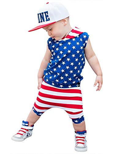 KIDDAD Toddler Baby Boy American Flag Stars Stripes Sleeveless Vest T-Shirt+USA Flag Stripes Pants Outfits Set Size 3-4 Years/Tag110 - Star T-shirt Toddler