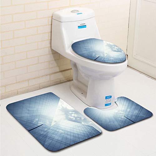 MTSJTliangwan 3-Piece Bathroom Set, Bathroom Rug + Contour pad + lid Toilet seat, Blue Glass Wall of Skyscraper Comfortable Flannel Rug ()