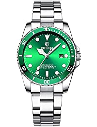 Womens Classic Fashion Silver Stainless Steel Watches Waterproof Date Luminous Lady Dress Wrist Watch (Green