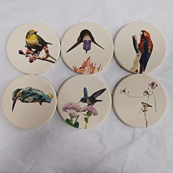 vonEden extra absorbent coasters (6-Piece Set)| Designed for extra absorbent capacity|Unique designs|Best House Warming Gift, Wedding Registry, Living Room or Church Pantry Decor (Birds)