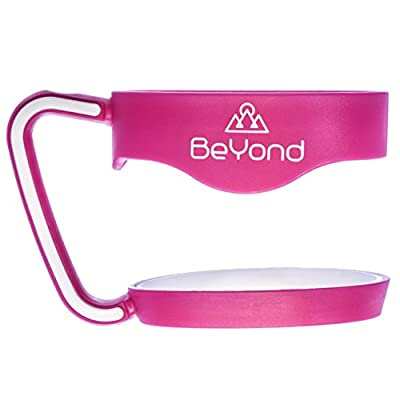 BeYond Hot Pink Handle for 30 oz Yeti Rambler Tumbler - Hotpink with White Anti-Slip Rubber Trim - Fits YETI RTIC Ozark Trail SIC and Other Cooler Cups - Gift-quality Box