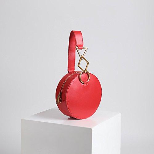 à Rouge Main Top Noires Cadeaux Sac fourre géométriques Vintage Main Rouge Rondes Vintage Simple Couleur Tout Sac à Sacs Handle Satchel Jxth Sauvage PFq8UBW