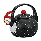 Supreme Housewares 71503 Rooster Whistling Kettle, 2 quarts, Black