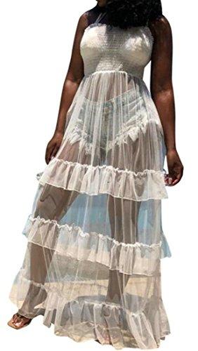 Les Femmes Cromoncent Balancer Bretelles À Volants Sans Bretelles Baggy Forme Plissée Robe Blanche Pure