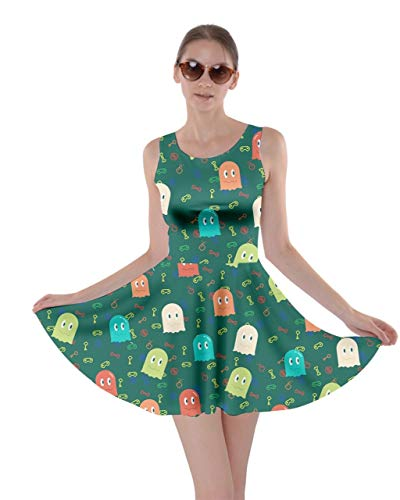 Sea Monster Green - CowCow Womens Game Console Sea Green Monster Print Skater Dress - XL