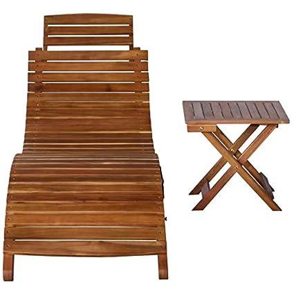 Amazon.com: GOHINSTAR - Tumbona con mesa (madera de acacia ...