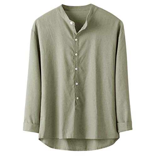 - GREFER-Mens T-Shirts Loose Long Sleeve Tops - Casual Linen and Cotton Soft Button-Down Shirts Undershirt Plus Size Green