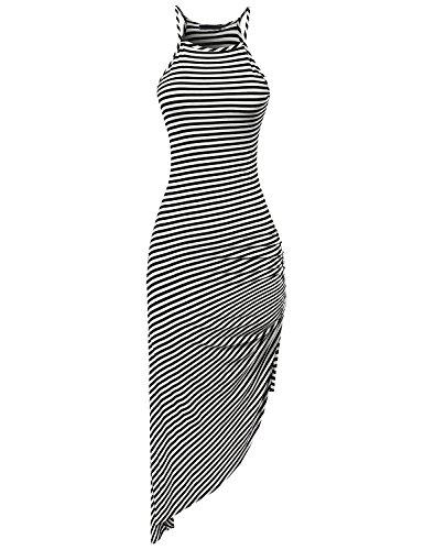 Eliacher Women's Spaghetti Strap Sleeveless Casual Bodycon Midi Dress (XXXL, black and white stripe)