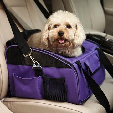 Der&Dies 2 in 1 mutifunktionale Autotransporttasche Tiertransporttasche Transportbox Reisetasche für kleine Hunde Welpen (wie Bolonka, Chihuahua, Cavalierchen, Zwergdackel, Malteser , Shi tzu Havaneser) und kleine Katze oder Mäuse wie Nager. Transporttasche im Auto und auch als Schlaf- oder Sitzplatz auf Reisen geeignet.(Größe:40*34*26)(Violett)