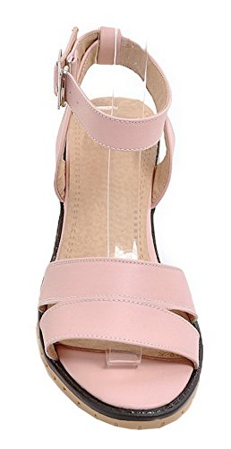 Sandals EGHLG004813 Heels Solid WeiPoot Buckle Women's Open Pink Toe Kitten PU nU8Aq6z