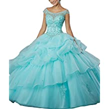 LastBridal Women Beading Scoop Cap Sleeves Organza Ball Gown Sweet 16 Lace Up Quinceanera Dresses Prom Gown LB0006