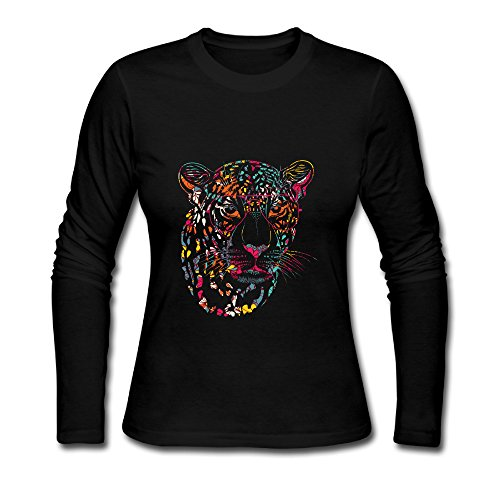 LCNANA Colorful Tiger Wear Glasses Animal Women's Long-Sleeve T-Shirt Black L