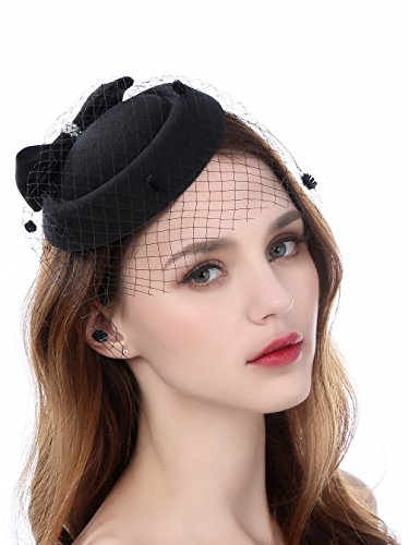 Zivyes Fascinator Hats for Women Pillbox Hat with Veil Headband and a Forked Clip Tea Party Headwear ()