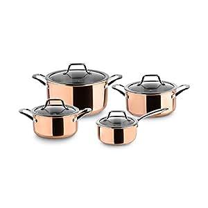 Set de Ollas de Acero Claire de 3 Capas | Juego de ollas de cobre con tapas de cristal, todo tipo de cocinas, incluida inducción: Amazon.es: Hogar