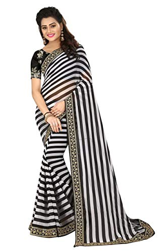Purvi Fashion Fancy Partywear Designer Georgette Saree with Blouse Piece for Women(White, Free Size)