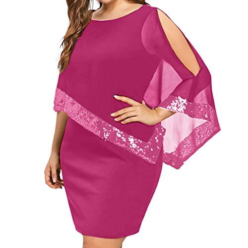 - Caopixx Dress for Women Plus Size Cold Shoulder Chiffon Strapless Sequins Party Dress Pink