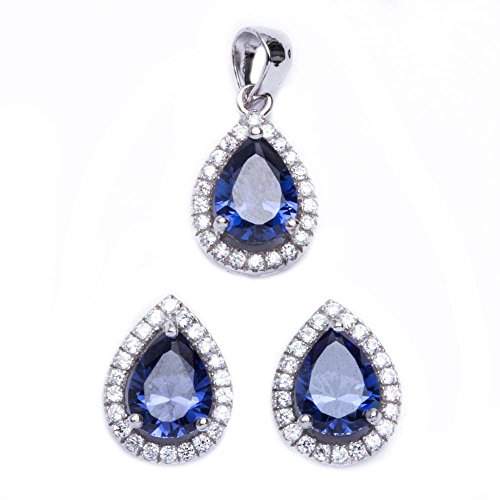 Jewelry Set Pendant Earring Teardrop Pear Simulated Blue Tanzanite Round CZ 925 Sterling Silver