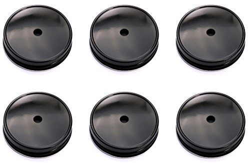 Mason Jar Straw Lids Set of 6 (Regular, Black)