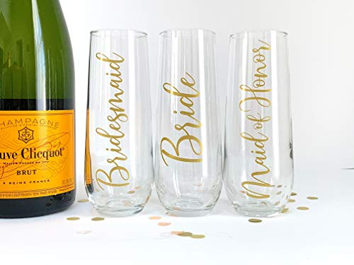 Champagne Flutes for Bridesmaid - Maid of Honor - Bride - Bridal Party Gift -