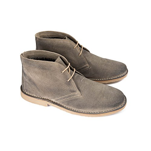 Ikon CANYON Mens Suede Lace Up Desert Boots Grey Grey