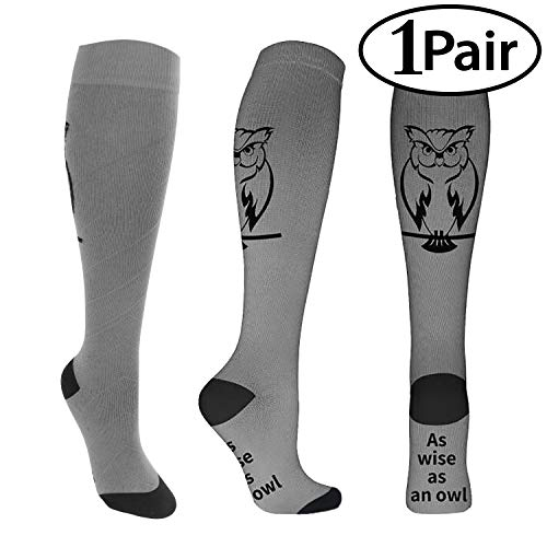 (1 Pair Compression Socks for Men & Women 20-30 mmHg Medical Graduated Compression Stockings for Running Nurses Shin Splints Diabetic Flight Travel Pregnancy Varicose Veins (Owl, S/M))